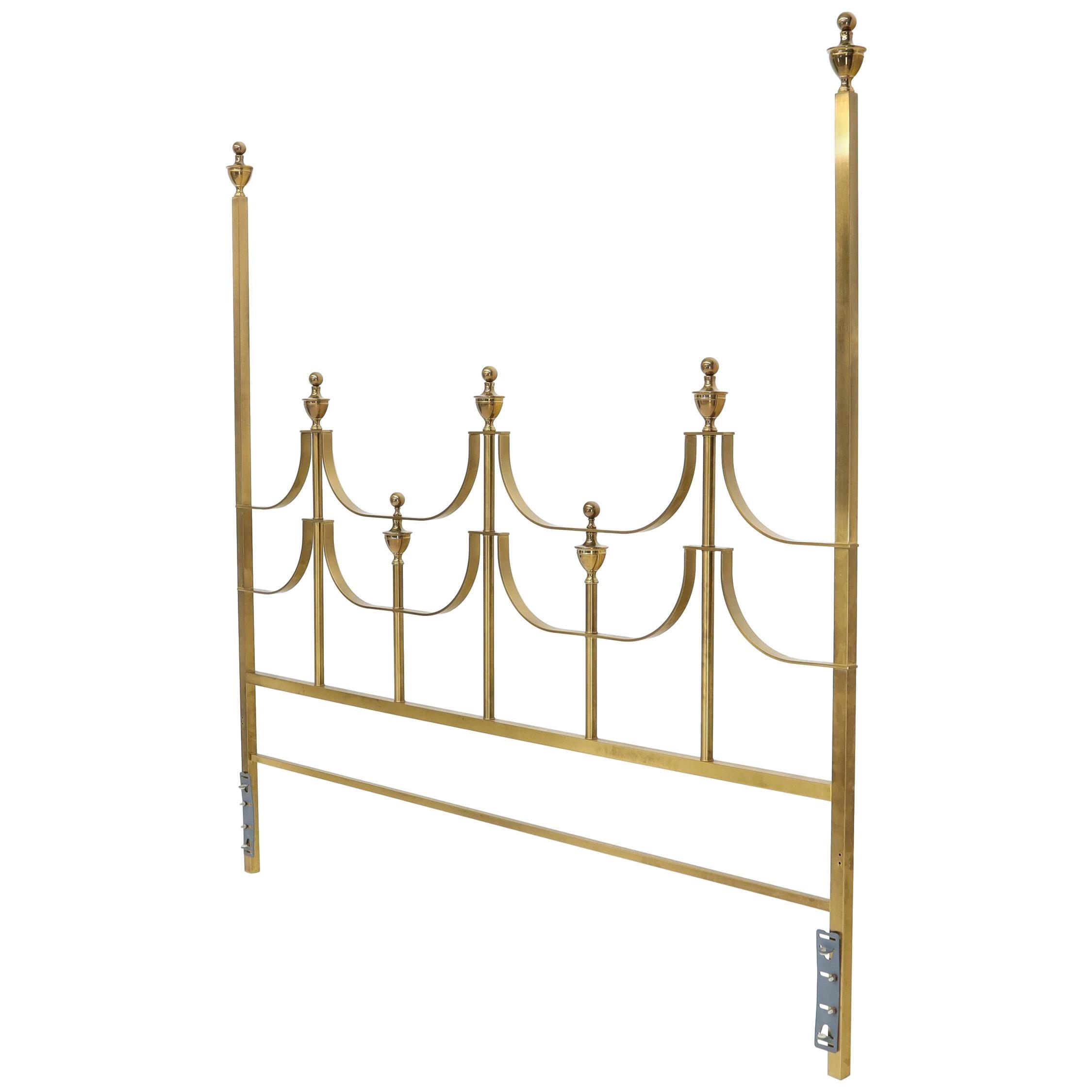 Solid Brass Mastercraft King Size Tall Headboard Bed