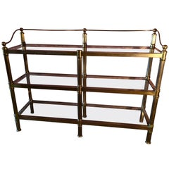 Solid Brass Mastercraft Three Shelf Glass Shelving Unit