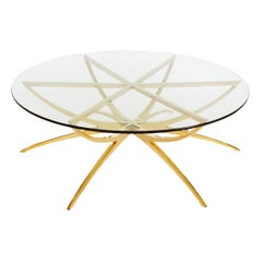 Solid Brass Midcentury Italian Modern Round Glass Top Spider Cocktail Table