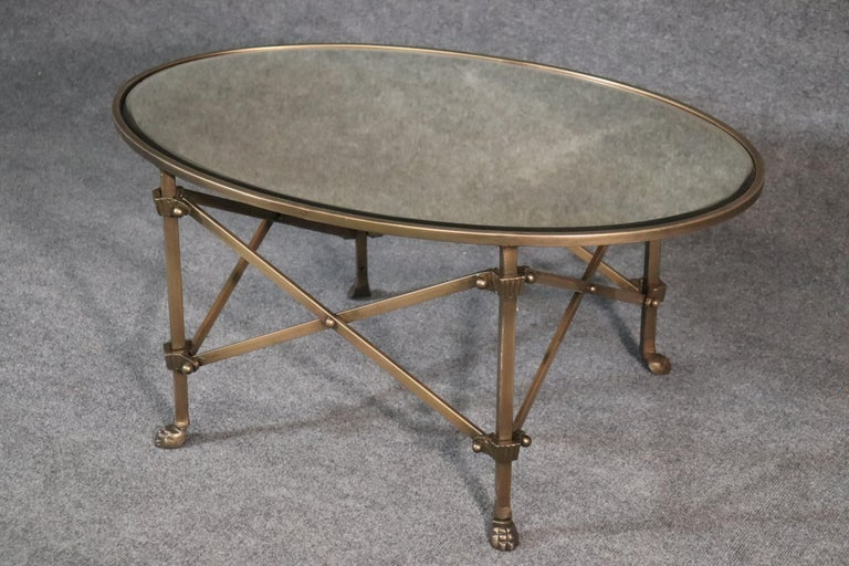 Solid Brass Mirrored Oval French Directoire Style Coffee Cocktail Table In Good Condition For Sale In Swedesboro, NJ