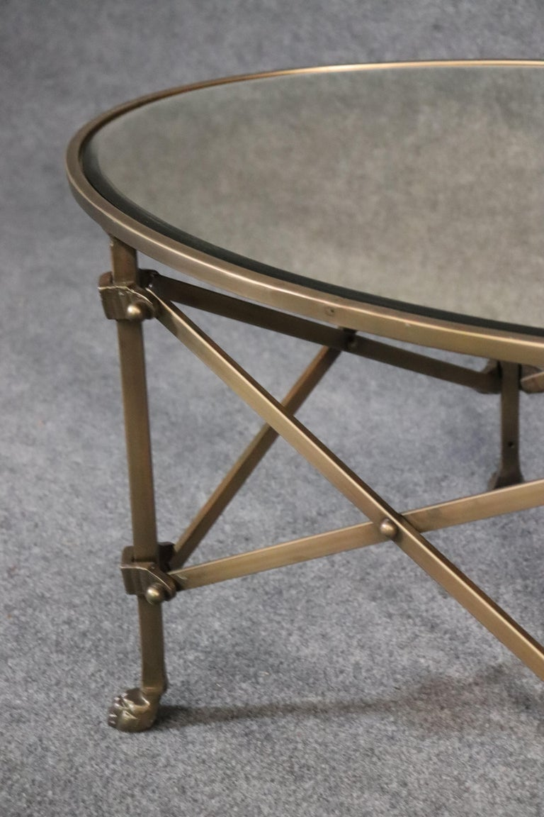 Solid Brass Mirrored Oval French Directoire Style Coffee Cocktail Table For Sale 1