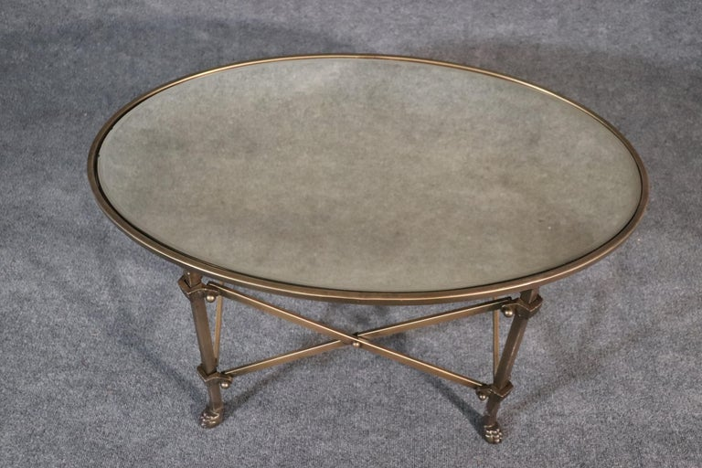 Solid Brass Mirrored Oval French Directoire Style Coffee Cocktail Table For Sale 2