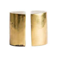 Solid Brass Modernist Bookends
