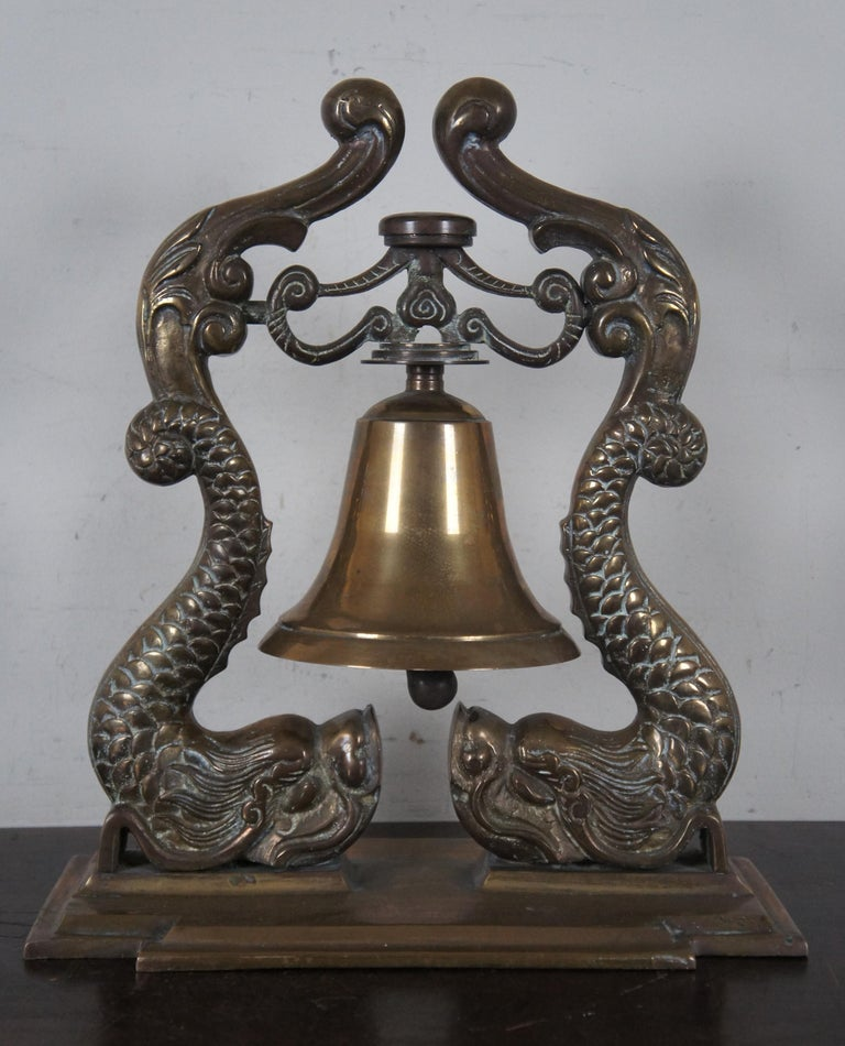 20th Century Solid Brass Nautical Navy Bell Submarine Officer Ship Captain Dolphins Maritime For Sale