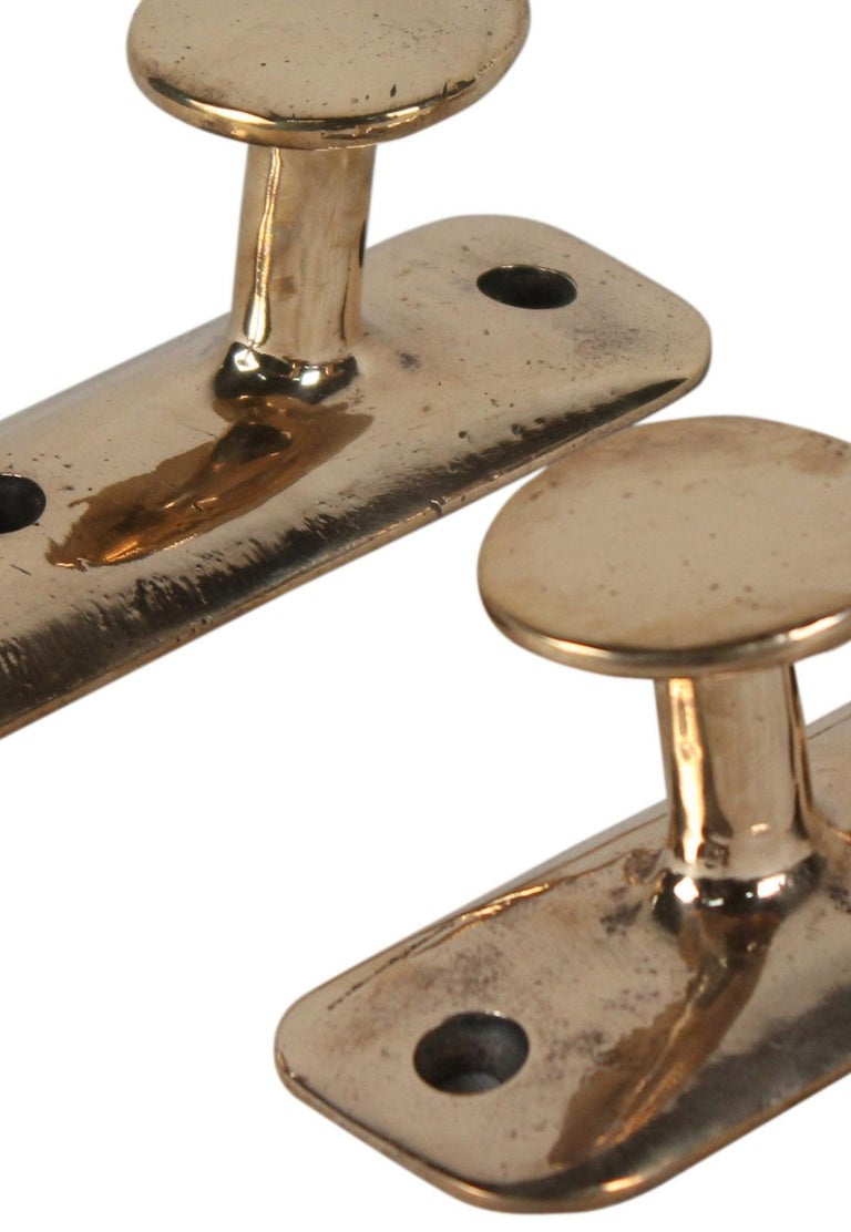 Solid Brass Nautical Ship's Cleat or Coat Hooks, 1980s In Good Condition For Sale In Nantucket, MA