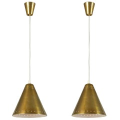 Solid Brass Pendants With Perforated Lampshade