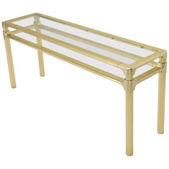 Solid Brass Profile Base Glass Top Mid-Century Modern Console Sofa Table