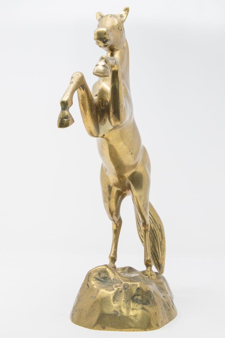 Solid Brass Raring Horse Figure 4