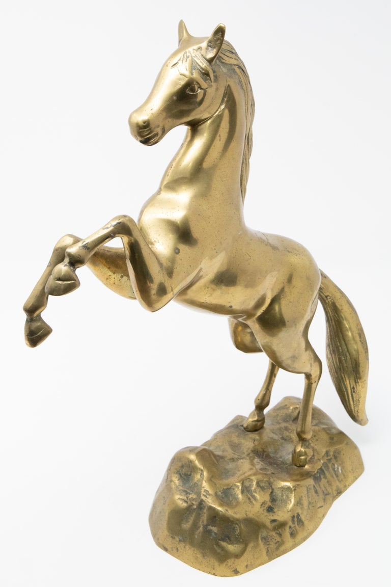 Solid Brass Raring Horse Figure In Fair Condition In Cookeville, TN