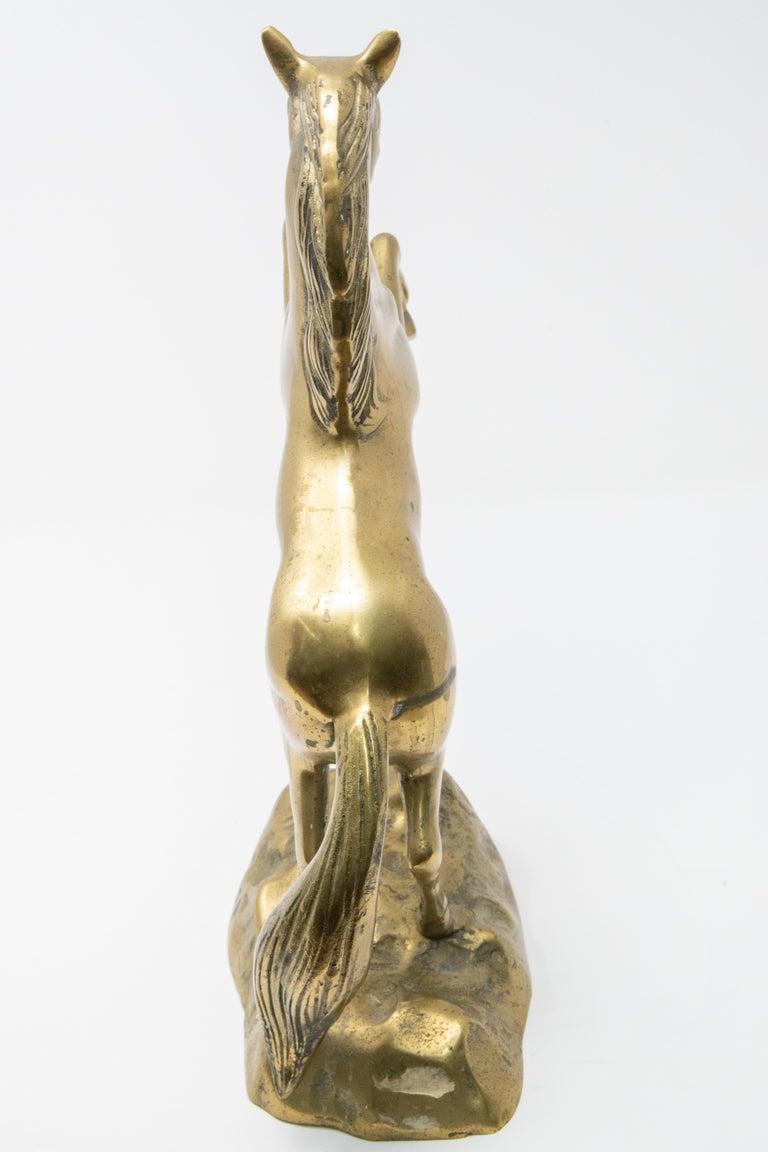 Solid Brass Raring Horse Figure 2