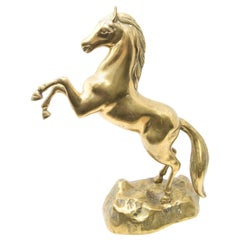 Solid Brass Raring Horse Figure