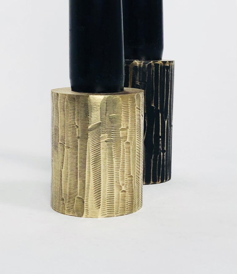 Contemporary Solid Brass Sculpted Candleholder Signed by William Guillon For Sale