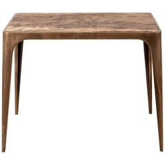 Solid Brass Side Table with Burr Oak Top, UK, 2005