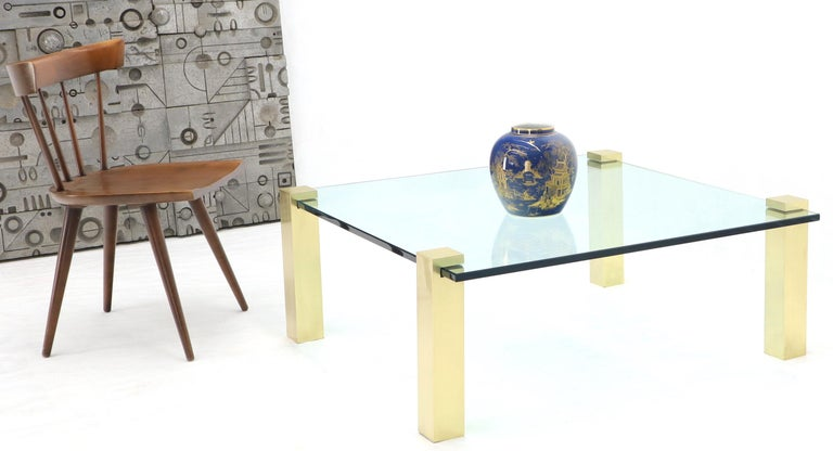Solid Brass Square Posts Legs Glass Top Coffee Table For Sale 4