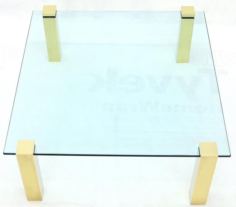 Mid-Century Modern Solid Brass Square Posts Legs Glass Top Coffee Table For Sale