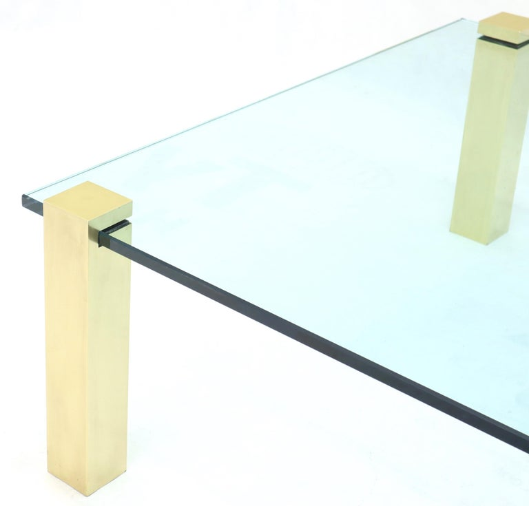 Italian Solid Brass Square Posts Legs Glass Top Coffee Table For Sale