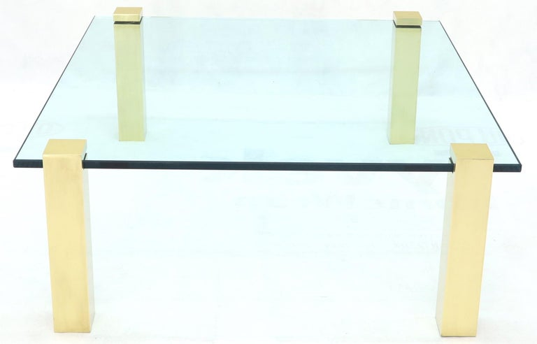 20th Century Solid Brass Square Posts Legs Glass Top Coffee Table For Sale