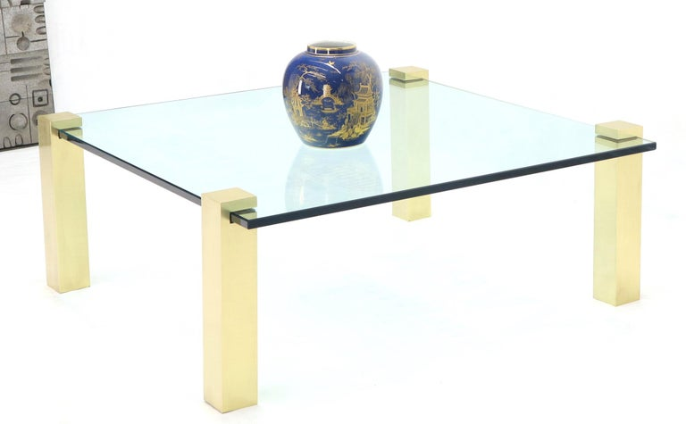 Solid Brass Square Posts Legs Glass Top Coffee Table For Sale 3