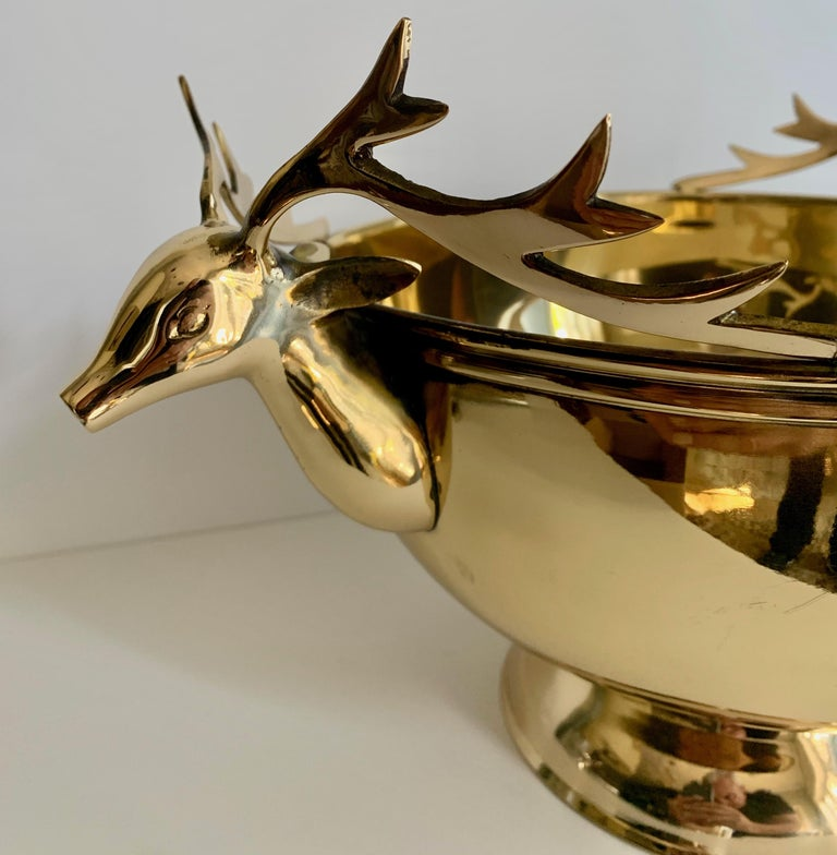 Solid Brass Stag Head Bowl In Good Condition For Sale In Los Angeles, CA