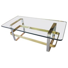 Solid Brass & Steel Coffee Table Attributed to Design Institute America