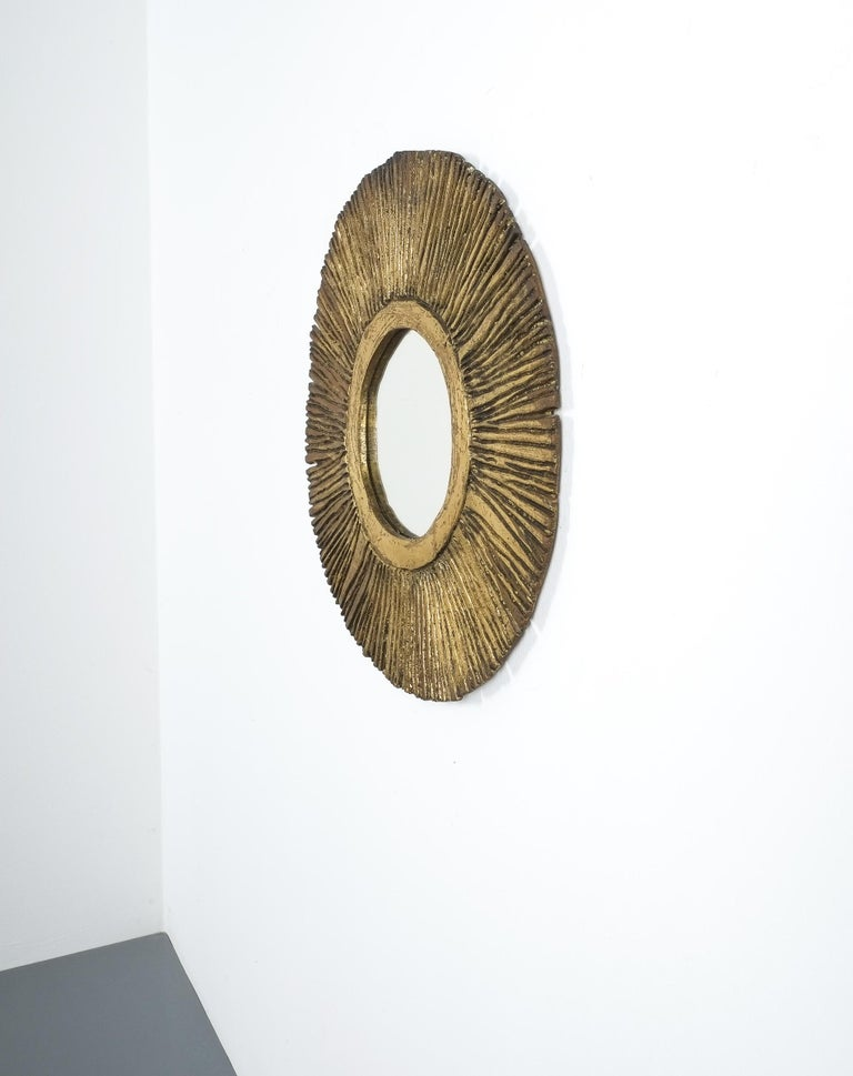 French Solid Brass Sunburst Midcentury Mirror, France, circa 1955 For Sale