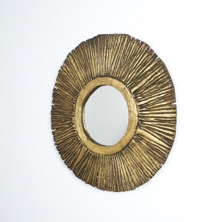 Mid-20th Century Solid Brass Sunburst Midcentury Mirror, France, circa 1955 For Sale