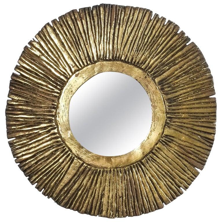 Solid Brass Sunburst Midcentury Mirror, France, circa 1955 For Sale