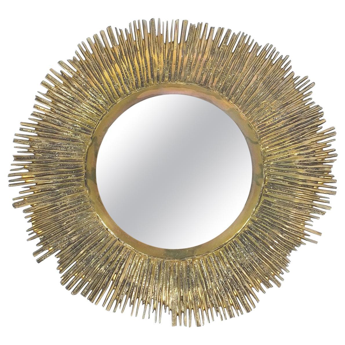 Solid Brass Sunburst Midcentury Mirror, France, circa 1955