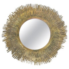 Solid Brass Sunburst Midcentury Mirror, France, circa 1955
