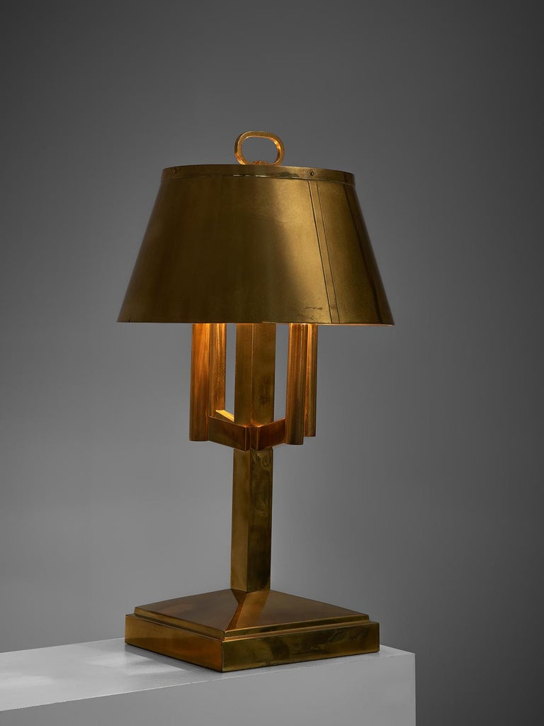 Mid-Century Modern Solid Brass Table Lamp, 1940s For Sale