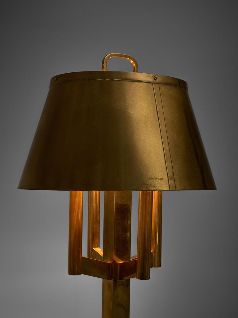 Italian Solid Brass Table Lamp, 1940s For Sale
