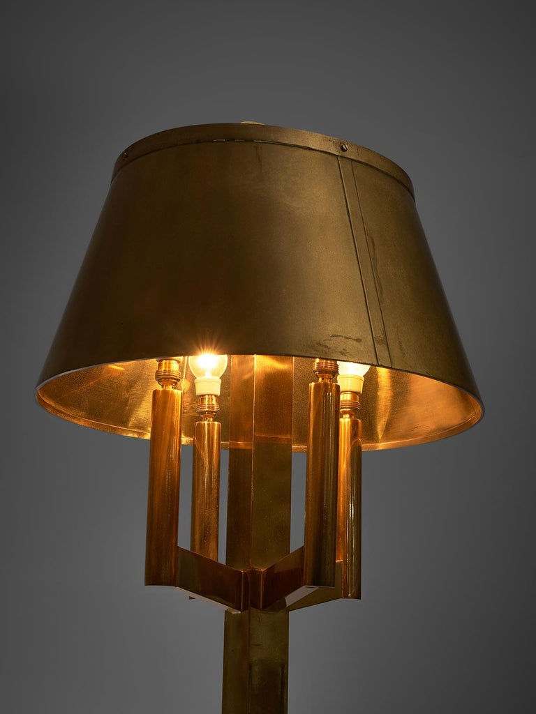 Solid Brass Table Lamp, 1940s In Good Condition For Sale In Waalwijk, NL