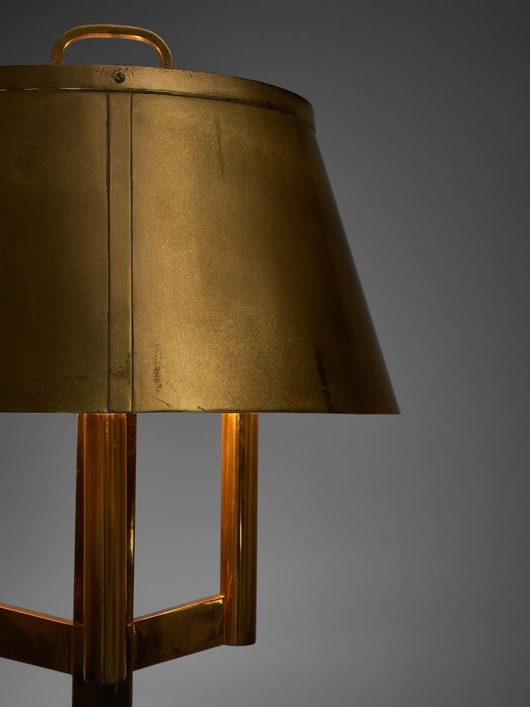 Mid-20th Century Solid Brass Table Lamp, 1940s For Sale