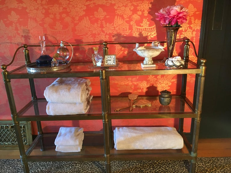 Solid Brass Three Shelf Console Display in the Manner of Neoclassical Style For Sale 6