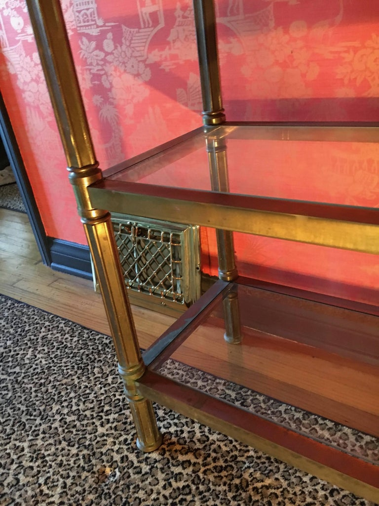 20th Century Solid Brass Three Shelf Console Display in the Manner of Neoclassical Style For Sale