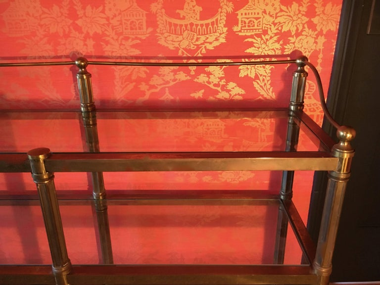 Solid Brass Three Shelf Console Display in the Manner of Neoclassical Style For Sale 2