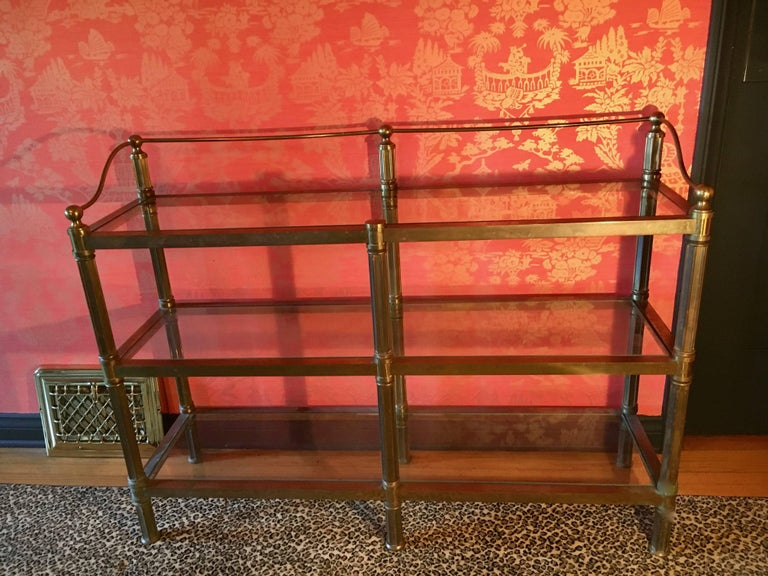Solid Brass Three Shelf Console Display in the Manner of Neoclassical Style For Sale 3