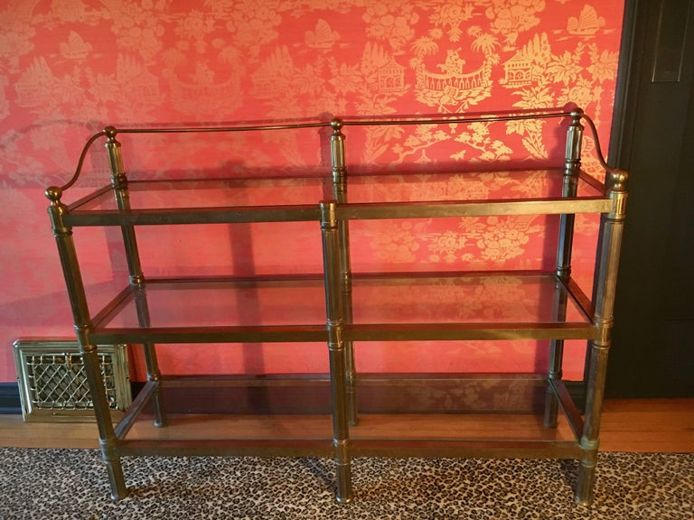 Solid Brass Three Shelf Console Display in the Manner of Neoclassical Style For Sale 4