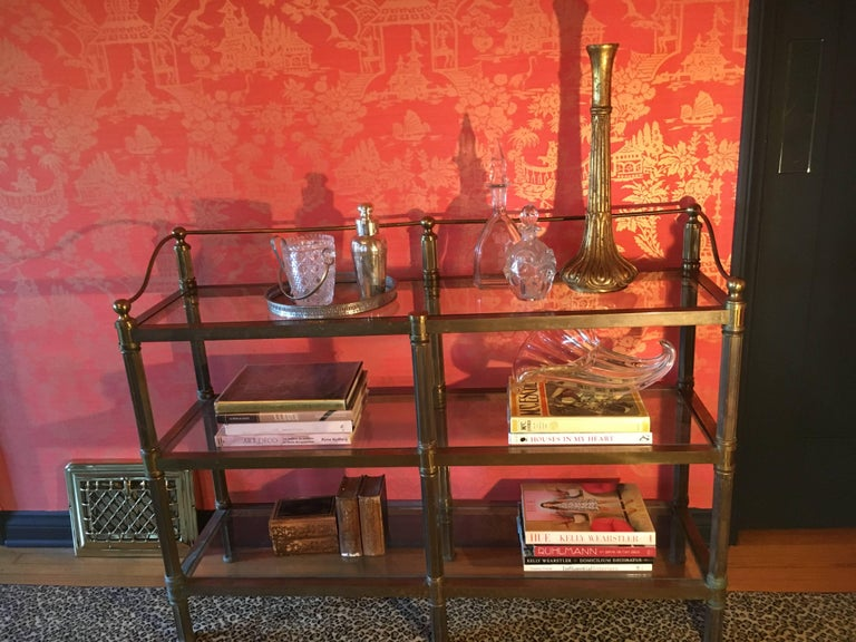 Solid Brass Three Shelf Console Display in the Manner of Neoclassical Style For Sale 5
