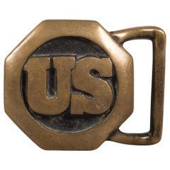 Solid Brass US Belt Buckle c.1970s