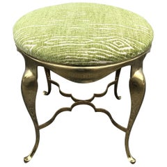 Solid Brass Vanity Stool with Cabriole Legs