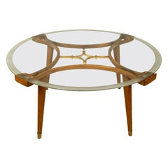 Solid Brass Walnut Glass Table, by William Watting, Produced by Fristho, 1950s