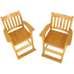 Solid Brid's-Eye Maple High Pool Chairs Bar Stools