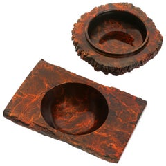 "Solid Bronze ""Ember"" and ""Zion"" Bowls / Vessels Accessory Set with Red Patina"