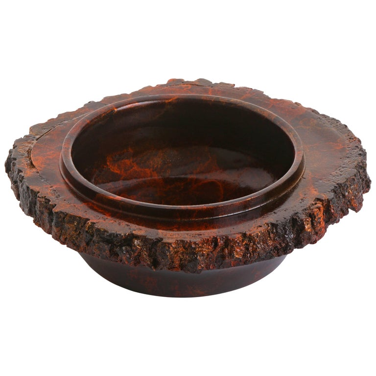 "Solid Bronze ""Ember"" Bowl or Vessel with Natural Edge and Red Patina, in Stock For Sale"