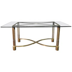 Solid Bronze Indoor Outdoor Glass Top Neoclassical Dining Center Table C1940