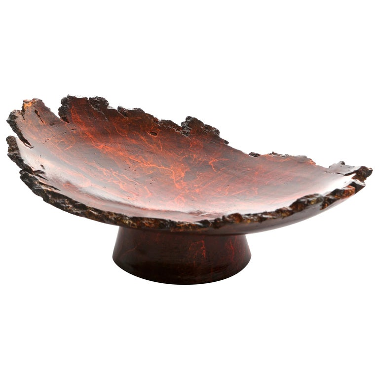 "Solid Bronze ""Mavis"" Footed Dish with Natural Edge and Red Patina, in Stock For Sale"