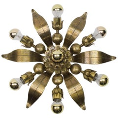 Solid Bronze Midcentury Wall or Ceiling Sputnik Lamp Flower-Shaped, 1960s