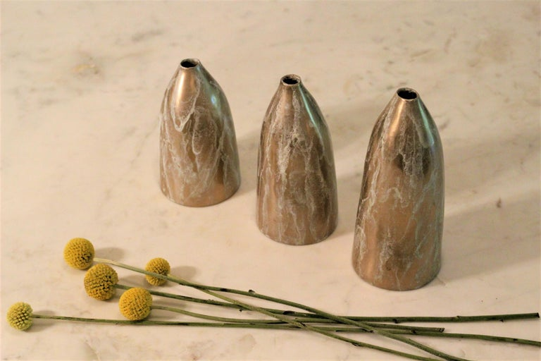 Solid Bronze 'Poppy' Vase / Vessel with Sculptural Shape in Gold Patina Finish For Sale 4