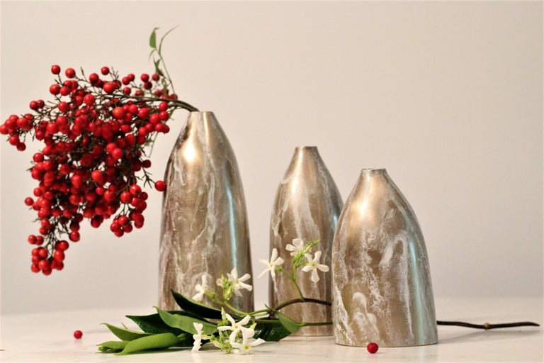 Solid Bronze 'Poppy' Vase / Vessel with Sculptural Shape in Gold Patina Finish For Sale 1